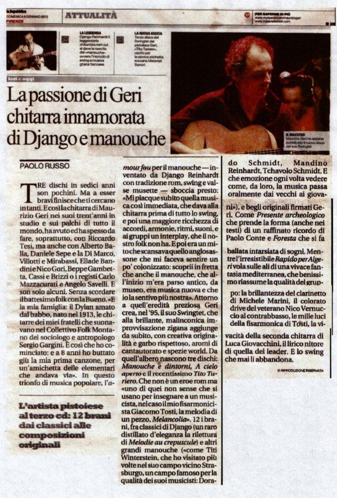 ARTICOLO GERI -Repubblica 6 Gennaio 2013